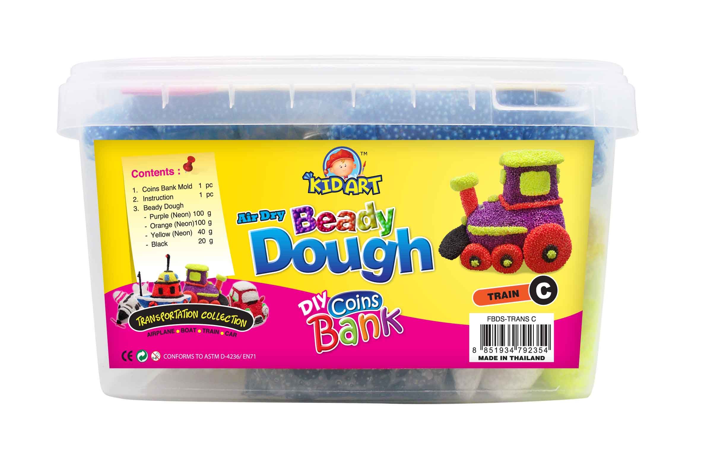 Coin Bank Beady Dough Transportation C - TRAIN