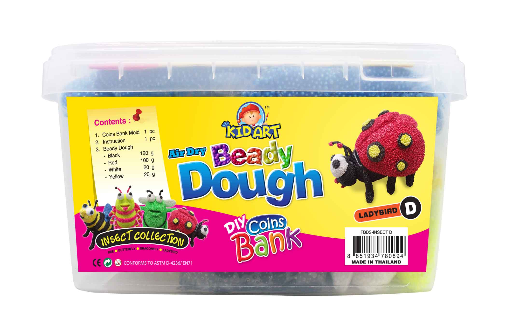 Coin Bank Beady Dough Insect D - Lady Bug